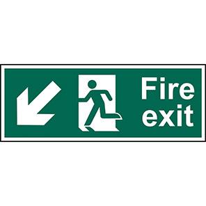 "Spectrum Industrial ""Fire Exit"" Down/Left Arrow Sign 450mm x 150mm"