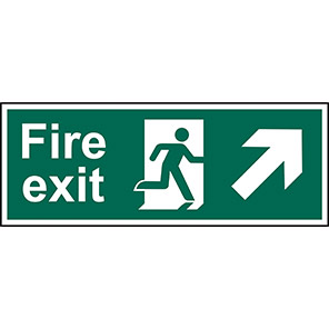 """Spectrum Industrial """"Fire Exit"""" Up/Right Arrow Sign 450mm x 150mm"""