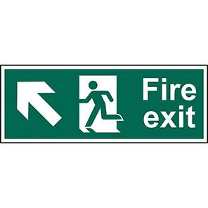 "Spectrum Industrial ""Fire Exit"" Up/Left Arrow Sign 450mm x 150mm"