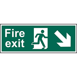 """Spectrum Industrial """"Fire Exit"""" Down/Right Arrow Sign 450mm x 150mm"""