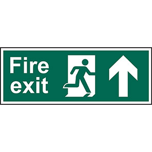 """Spectrum Industrial Double-Sided """"Fire Exit"""" Up Arrow Hanging Sign"""