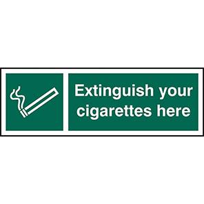 "Spectrum Industrial Self-Adhesive ""Extinguish Your Cigarettes Here"" Sign"