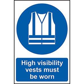 """Spectrum Industrial """"Hi-Vis Vest Must Be Worn"""" Sign 200mm x 300mm"""