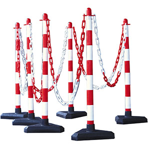 GUARDA Red/White Chain Post with Heavyweight Base Set