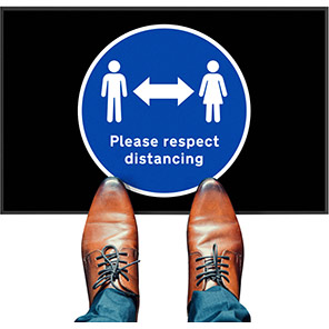 """COBA """"Please Respect Distancing"""" Social Distancing Floor Mat (Pack of Two)"""
