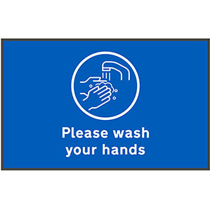 """COBA """"Please Wash Hands"""" Social Distancing Floor Mat (Pack of Two)"""