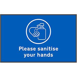 """COBA """"Please Sanitise Hands"""" Social Distancing Floor Mat (Pack of Two)"""