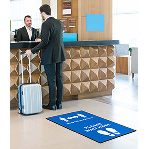 """COBA """"Respect Distancing/Wait Here"""" Social Distancing Floor Mat (Pack of Two)"""