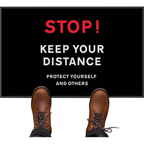 """COBA """"Stop! Keep Your Distance"""" Social Distancing Floor Mat (Pack of Two)"""