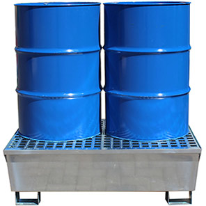 Ecospill Two-Drum Galvanised Spill Pallet
