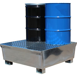 Ecospill Four-Drum Galvanised Spill Pallet