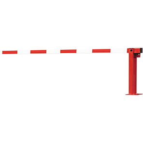 COMPACT Red/White Swing-Strut Gas-Assisted Boom Barrier