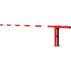 COMPACT Red/White Swing-Strut Counterweight Boom Barrier