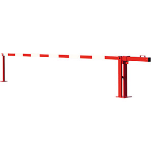 COMPACT Red/White Fixed-Strut Counterweight Boom Barrier
