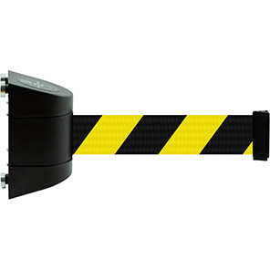 Tensabarrier Magnetic Retractable Barrier Wall Unit with Yellow/Black Belt