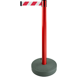 Tensabarrier Red Retractable Outdoor Barrier Post with Red/White Belt