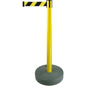 Tensabarrier Yellow Retractable Outdoor Barrier Post with Black/Yellow Belt