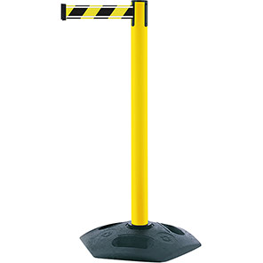 Tensabarrier Heavy-Duty Retractable Barrier Post with Black/Yellow Nig