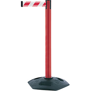 Tensabarrier Heavy-Duty Retractable Barrier Post with Red/White NightView Belt
