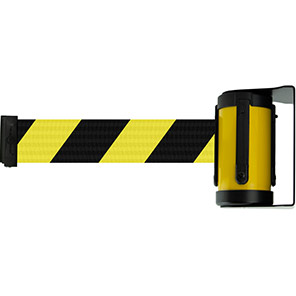 Tensabarrier Rotating Retractable Barrier Wall Unit with Black/Yellow Belt