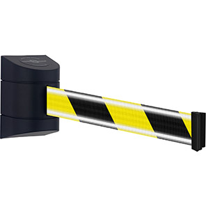 Tensabarrier Retractable Barrier Wall Unit with Black/Yellow NightView Belt