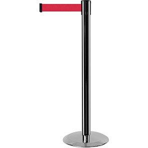 Tensabarrier Advance Chrome Retractable Barrier Post with Red Belt