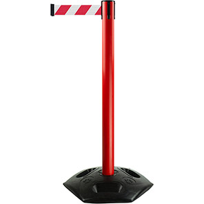 Tensabarrier Heavy-Duty Retractable Barrier Post with Red/White Belt
