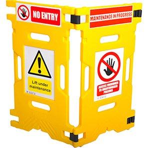 Addgards Elevatorgard Yellow Two-Panel Barrier