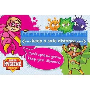 "Super Hygiene Heroes Shield/Brains ""Keep A Safe Distance"" Sign"