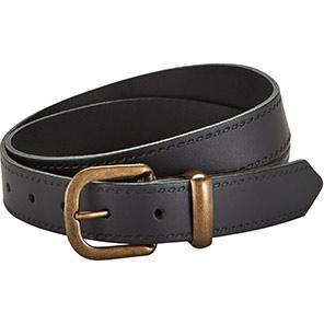 TROJAN Black Leather Belt