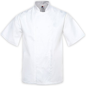 Tibard White Short-Sleeve Classic Chef's Jacket